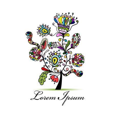arte abstracto: Árbol floral de la vendimia para su diseño. ilustración vectorial Vectores