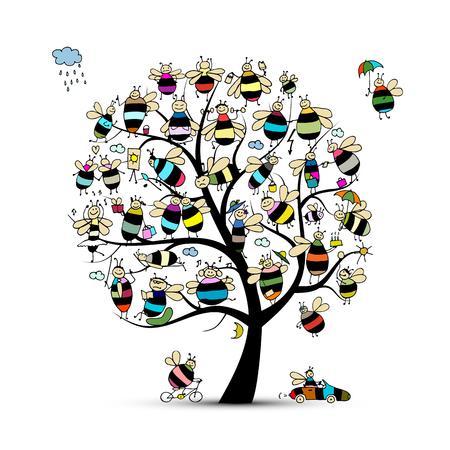 Art tree avec des abeilles de la famille, croquis pour votre conception. Vector illustration Banque d'images - 64821129