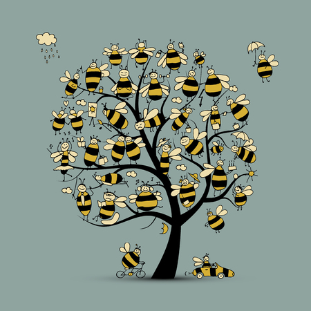 Art tree with family bees, sketch for your design. Vector illustration