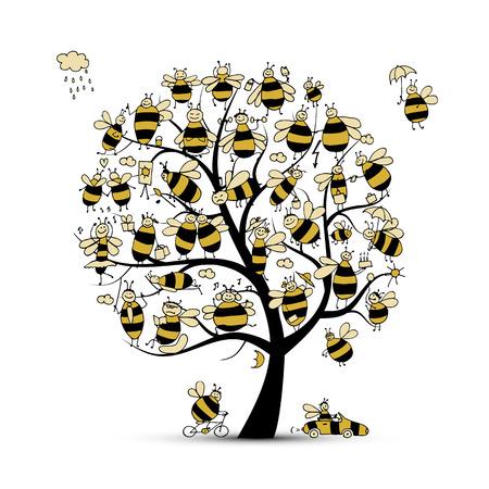 Arte árbol con las abejas de la familia, boceto de su diseño. ilustración vectorial Foto de archivo - 64821212