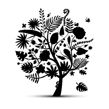 frond: Tropical tree concept, sketch for your design. Vector illustration