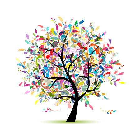 Colorful art tree for your design. Vector illustration Çizim