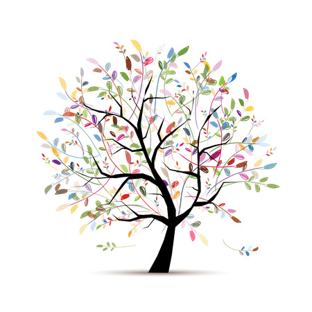 Colorful art tree for your design. Vector illustration Illustration