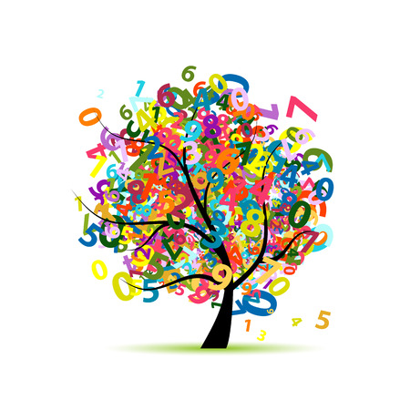 Tree with colorful numbers for your design. Vector illustration Çizim