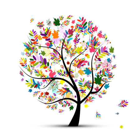 birds in tree: Colorful autumn tree for your design. Vector illustration