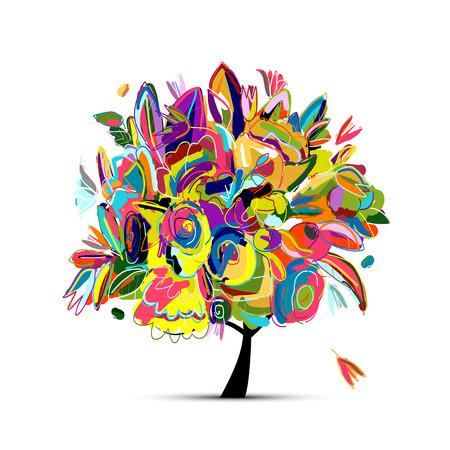 디자인을위한 꽃 나무. 벡터 일러스트 레이 션 일러스트