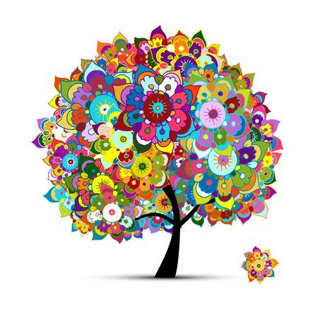 Rbol floral para su diseño. Ilustración vectorial Foto de archivo - 64881922