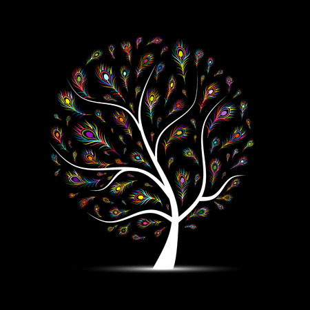 peacock feathers: Art tree with peacock feather for your design. Vector illustration Illustration