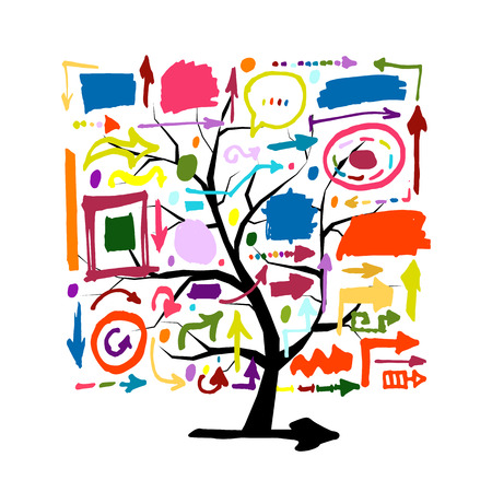 Tree with colorful arrows, sketch for your design. Vector illustration Illustration