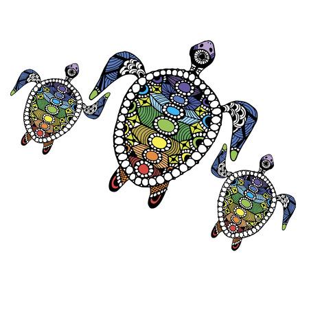 la familia de la tortuga para su diseño. ilustración vectorial