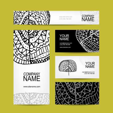 Business cards collection, ethnic ornament for your design, vector illustration Vektorové ilustrace