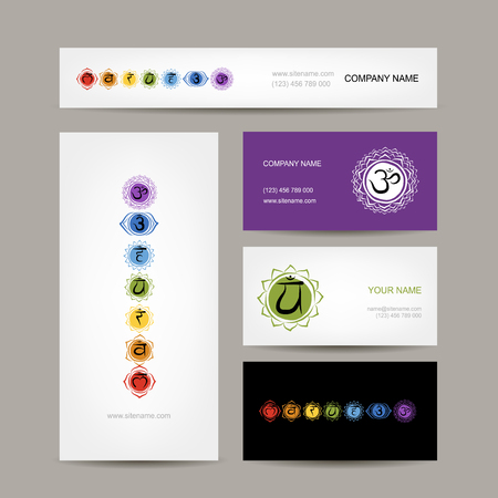 ajna: Business cards design, seven main chakras. Vector illustration