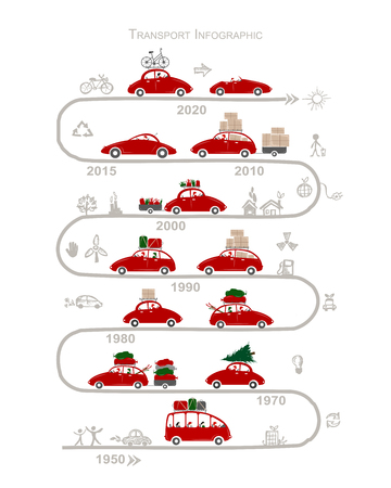 winter car: Traveling by car. Infographic for your design. Vector illustration Illustration
