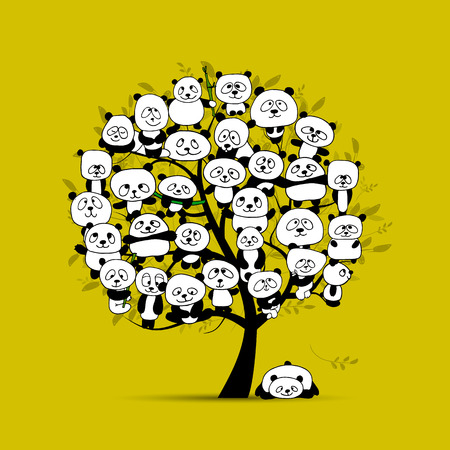Tree with funny pandas, sketch for your design. Vector illustration Illustration