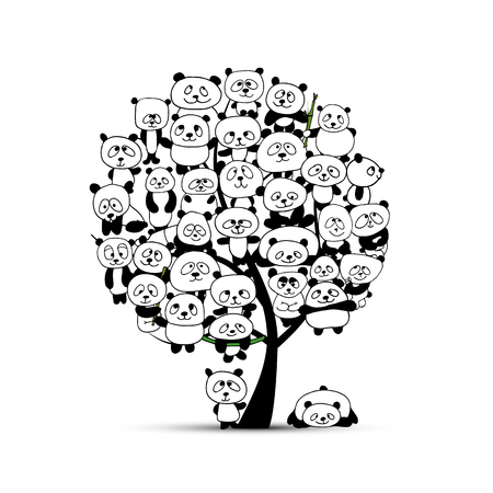 giant: Tree with funny pandas, sketch for your design. Vector illustration Illustration