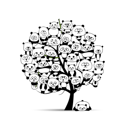 Tree with funny pandas, sketch for your design. Vector illustration Stock Illustratie
