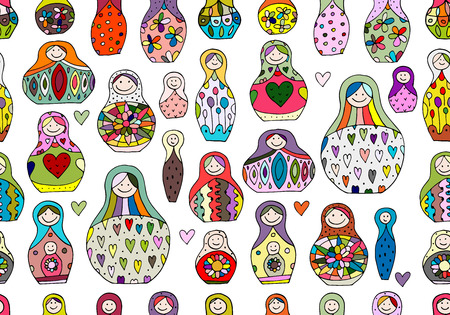 statuette: Seamless pattern with russian nesting dolls, Matryoshka. Vector illustration