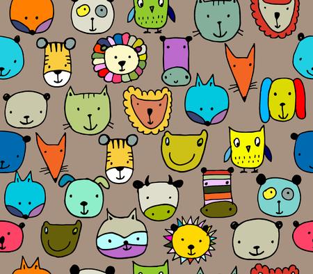 lion dog: Set of animal faces, sketch for your design. Vector illustration