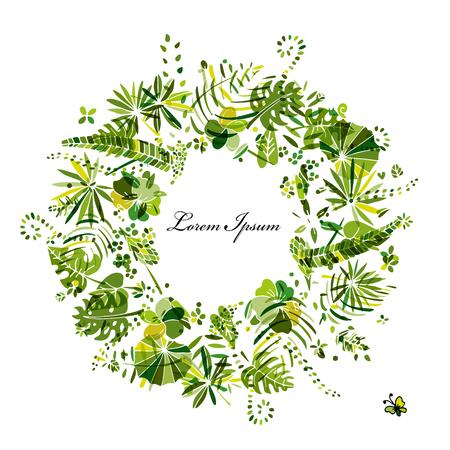 Tropical plants frame, sketch for your design. Vector illustration Stock Illustratie