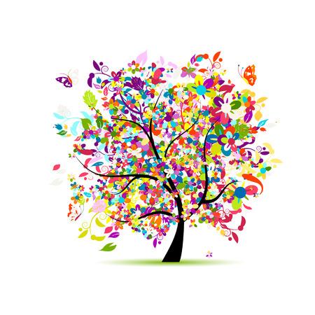 디자인을위한 꽃 나무입니다. 벡터 일러스트 레이 션