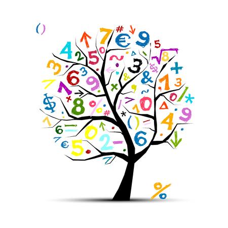 Árbol del arte con los símbolos matemáticos para su diseño Ilustración de vector