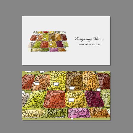 fruit and vegetable: Business cards design, fruit market sketch. Vector illustration Illustration