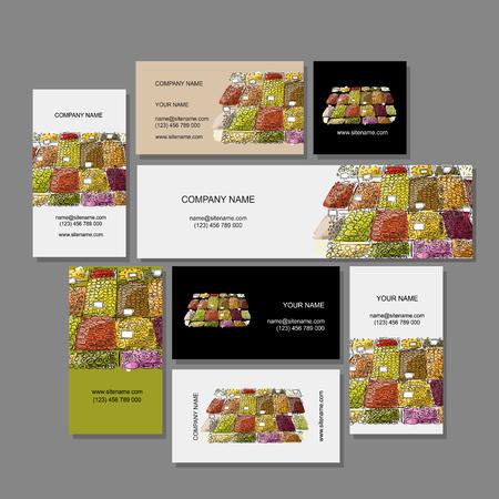 Business cards design, fruit market sketch. Vector illustration 向量圖像