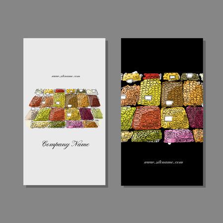 street market: Business cards design, fruit market sketch. Vector illustration Illustration