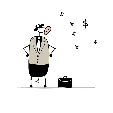 serious business: Funny bull businessman with suitcase, sketch. Vector illustration