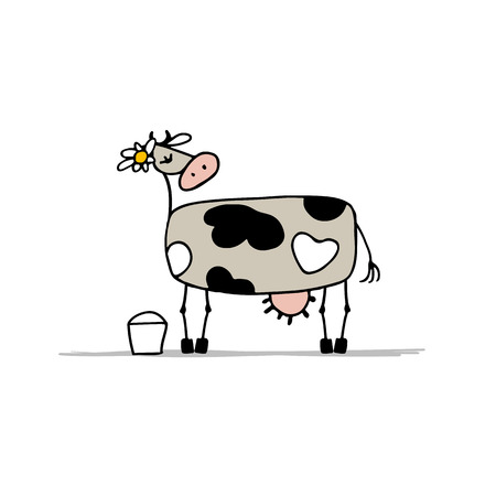 Cute cow with bucket of milk, sketch for your design. Vector illustration