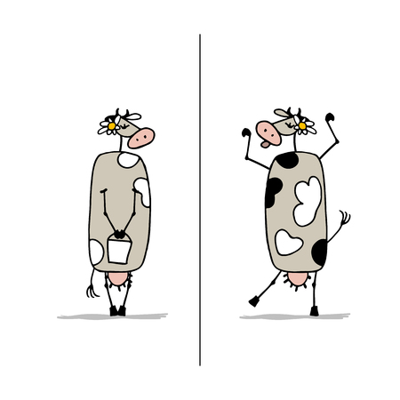 Funny cow is dreaming, sketch for your design. Vector illustration Illustration