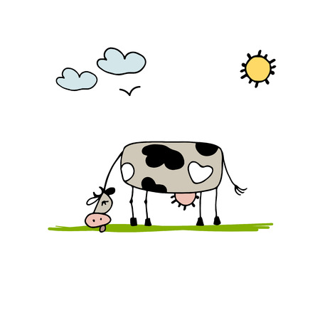 grazing: Cow grazing in meadow, sketch for your design. Vector illustration