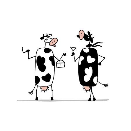 siluetas de mujeres: vacas divertidas sobre el partido, bosquejo para su diseño. ilustración vectorial