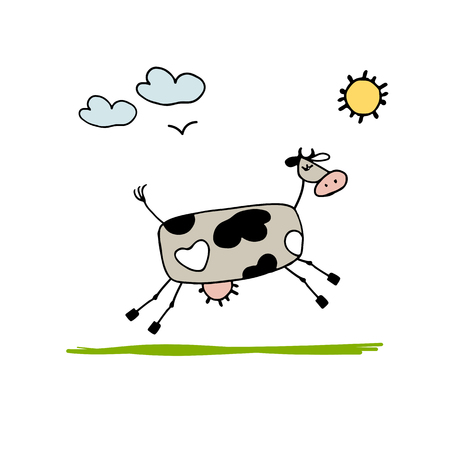 udders: Cow grazing in meadow, sketch for your design. Vector illustration