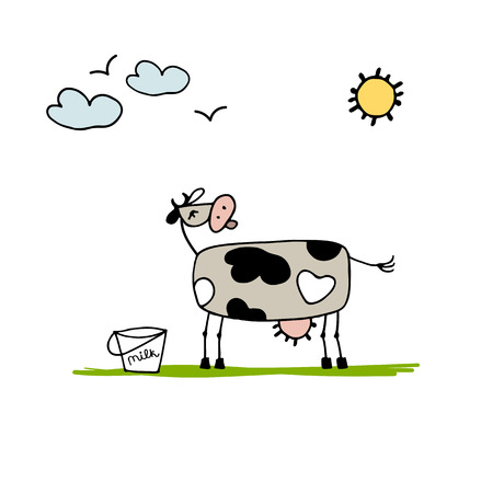 Cow grazing in meadow, sketch for your design. Vector illustration