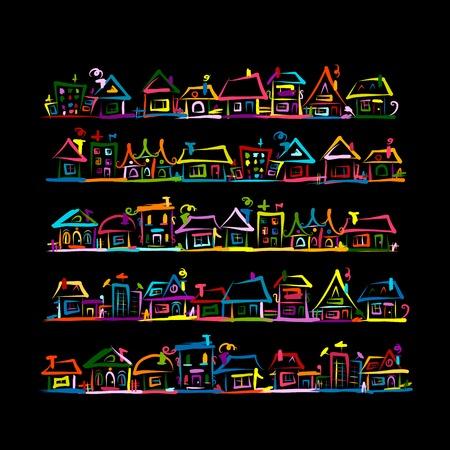 Set huizen, schets voor uw ontwerp. Vector illustratie