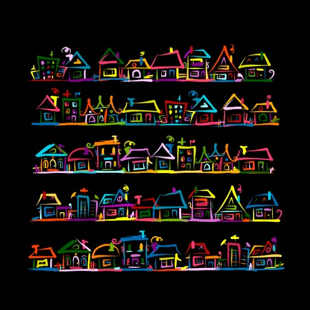 Set of houses, sketch for your design. Vector illustration