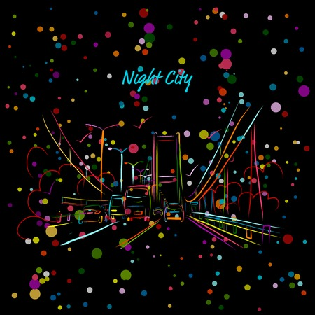 road design: Night city road for your design. Vector illustration