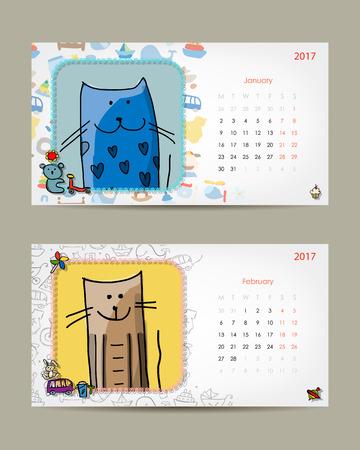 2017 Baby Calendar Template Insert Your Photo Vector Illustration