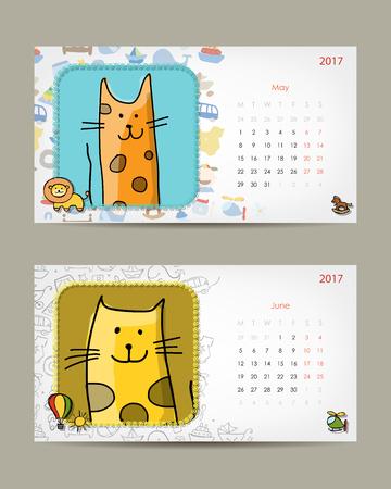 bordure de page: 2017 modèle de calendrier de bébé. Insérez votre photo. Vector illustration