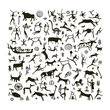 Pinturas de la roca, bosquejo para su diseño. ilustración Ilustración de vector