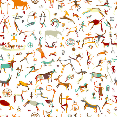 primitive: Rock paintings with ethnic people, seamless pattern,  illustration