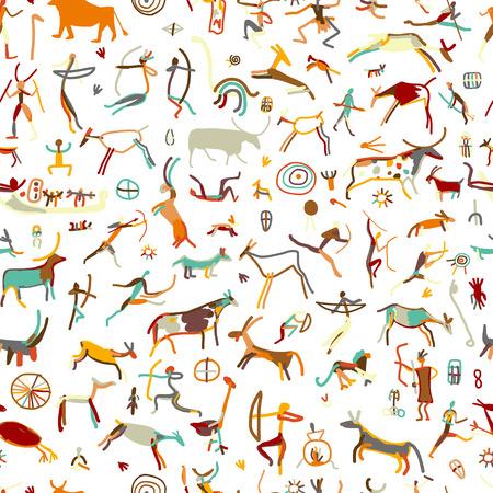 Pinturas de la roca con la población étnica, sin patrón, ilustración