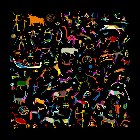 Les peintures rupestres, croquis pour votre conception. illustration