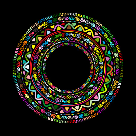 Round ornament design, ethnic mandala. illustration