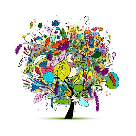 Árvore floral para seu projeto. ilustração Ilustración de vector