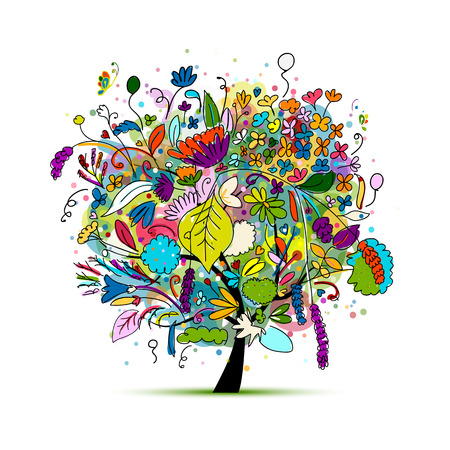 Floral tree for your design. illustration Çizim