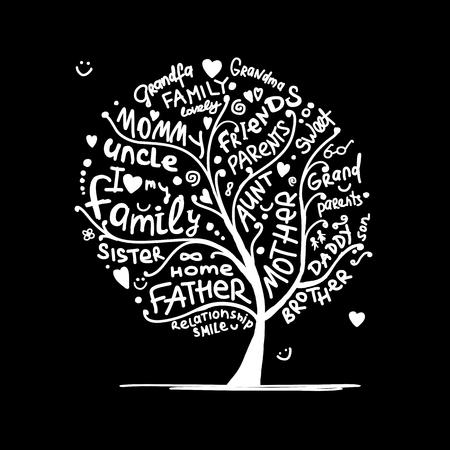 Bosquejo del árbol genealógico para su diseño, ilustración