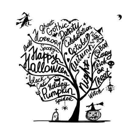 halloween tree: Halloween tree for your design.  illustration