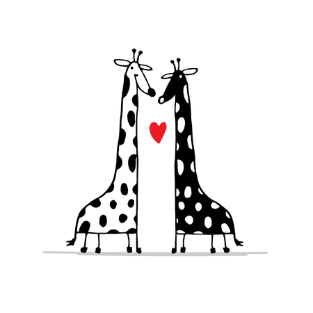 line drawing: Giraffes couple in love, sketch for your design.  illustration Illustration
